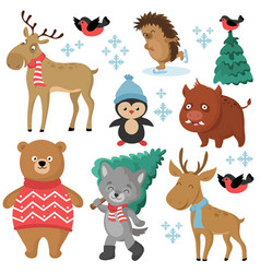 Happy forest animals in winter and christmas trees vector