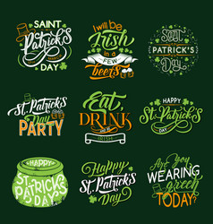 happy st patrick day greeting lettering and clover vector image