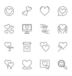 heart outline icons set love linear vector image