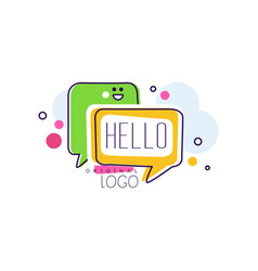 hello original logo bright badge with hello word vector image