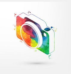 Isometric watercolor camera vector