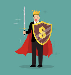 king businessman with shield and sword vector image
