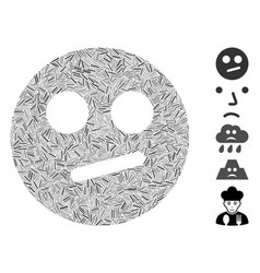 Line collage indifferent smiley icon vector