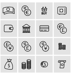 line money icon set vector image
