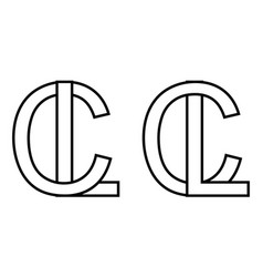 logo sign lc and cl icon sign two interlaced vector image