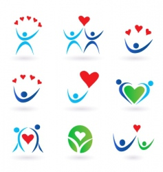 love relationship and community icons vector image