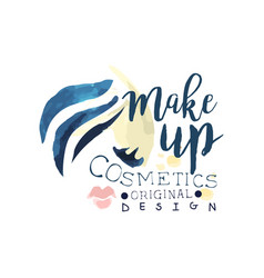 make up cosmetic original logo design label for vector image