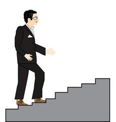 Man rises on stairway vector