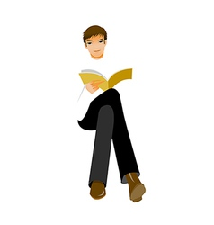 Man sitting with book vector