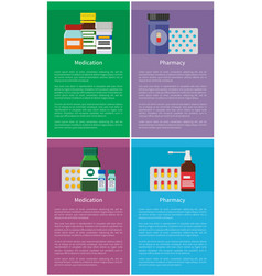 Medication and pharmacy vertical promo posters set vector