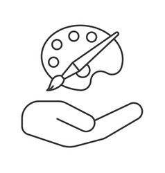Open hand with artist paint and brush linear icon vector