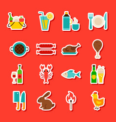 picnic grill stickers vector image