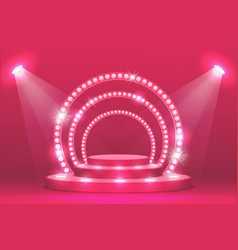Pink podium stage with ramp lights show scene vector