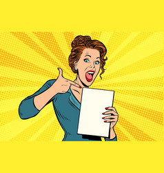 Pop art woman points to a blank template vector