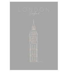 poster uk big ben grey vector image