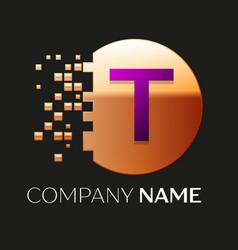 Purple letter t logo symbol in golden pixel circle vector