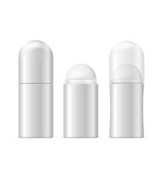 Realistic template blank white deodorant roller vector