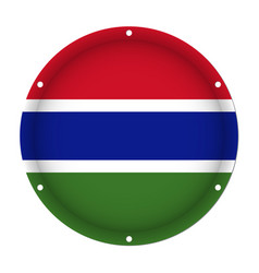 Round metallic flag of gambia with screw holes vector