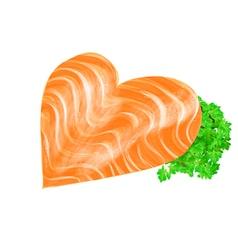 salmon heart vector image