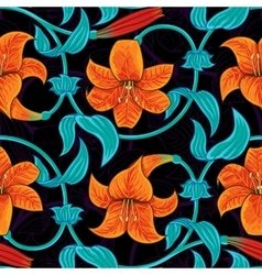 seamless pattern with lily flowers on dark vector image