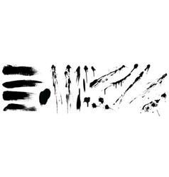 set black high detail brushe strokes vector image