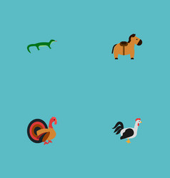 set of alive icons flat style symbols with cock vector image