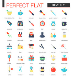 set of flat beauty cosmetic icons vector image