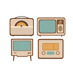 Set of retro home electronics radio tv in vintage vector