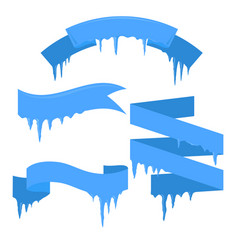 set of ribbons with icicles for your business vector image