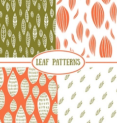 Set of seamless abstract leaf fall patterns vector
