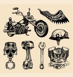 Set vintage bikers elementshand vector