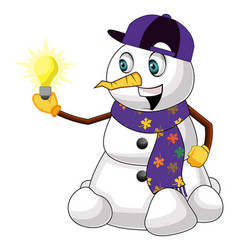 snowman with lightbulb on white background vector image