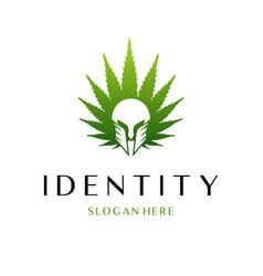 spartan leaf marijuana logo vector image