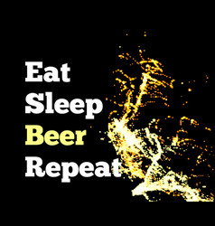 splash of beer on a black background with text vector image