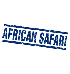 square grunge blue african safari stamp vector image