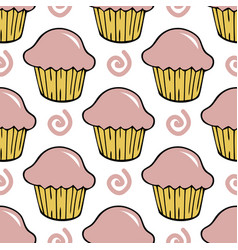 strawberry pink cream cupcake seamless pattern vector image