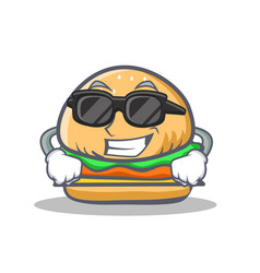 super cool burger character cartoon style vector image