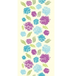 Textured painted flower vertical seamless pattern vector image