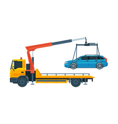 Tow truck evacuating blue car road assistance and vector