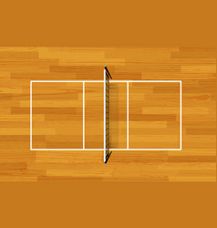 volleyball fireld with markings and wood texture vector image