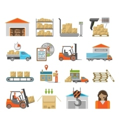 Warehouse transportation set vector