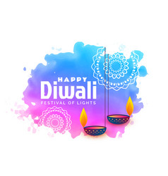 Watercolor background for happy diwali festival vector