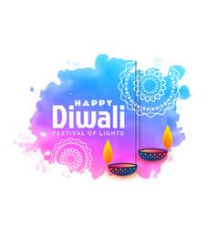 Watercolor background for happy diwali festival vector