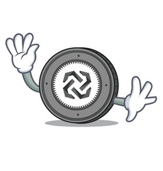 waving bytom coin character cartoon vector image