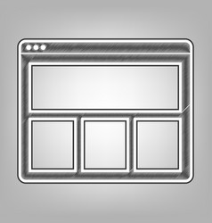 web window sign pencil sketch imitation vector image