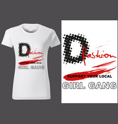 Women white t-shirt design with inscriptions vector