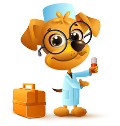 yellow funny dog doctor in uniform holding pill vector image