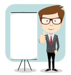 a cartoon businessman holding blank message board vector image