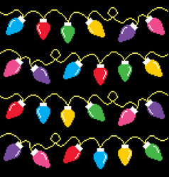christmas lights cross-stitch pattern pixel xmas vector image vector image