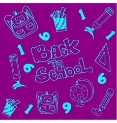 Doodle of school education on purple backgrounds vector image vector image